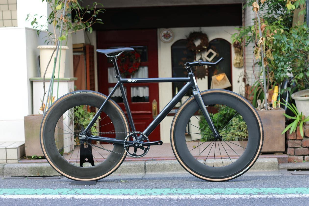 ピストバイク 完成車 8bar bikes FHAIN V1 IRON BLACK Front & Rear DINER 88mm Carbon Wheel Custom