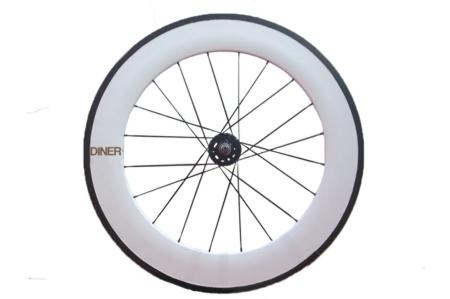 ピストバイク ホイール DINER ダイナー 88mm CARBON CLINCHER WHEEL WHITE FRONT 88mm カーボン クリンチャー ホイール ホワイト フロントPISTBIKE