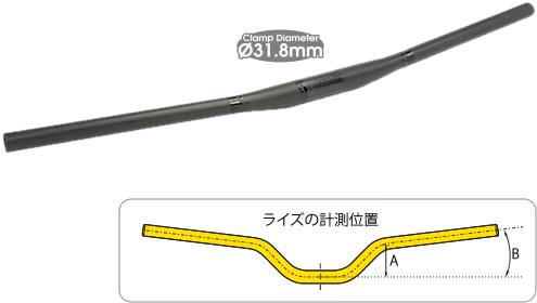 マウンテンバイク ハンドル TIOGA ロングホーン カーボン フラットバー 750mm 31.8