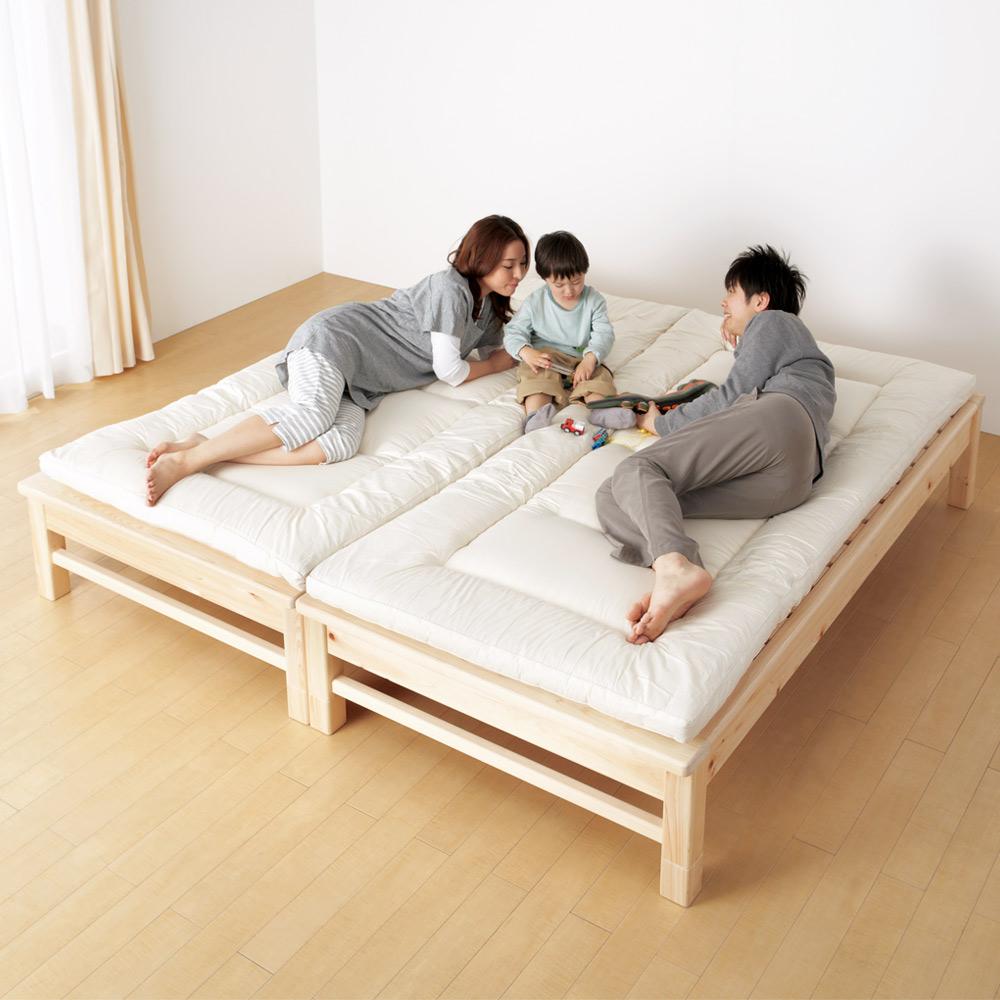 【シングル(竹炭付き)】東濃檜 高さ調節すのこベッド LR0111