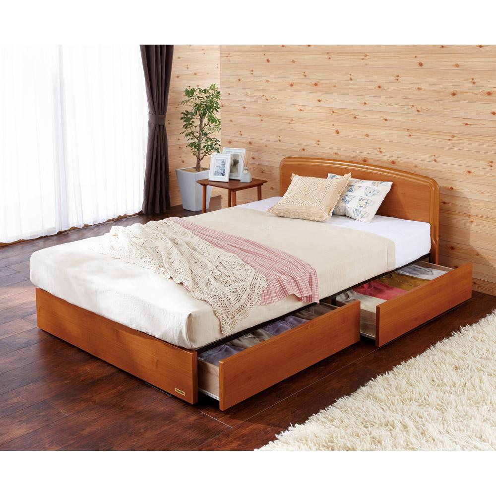 【セミダブル・羊毛綿入りマット】フランスベッド BOX引き出し付きベッド LR0174