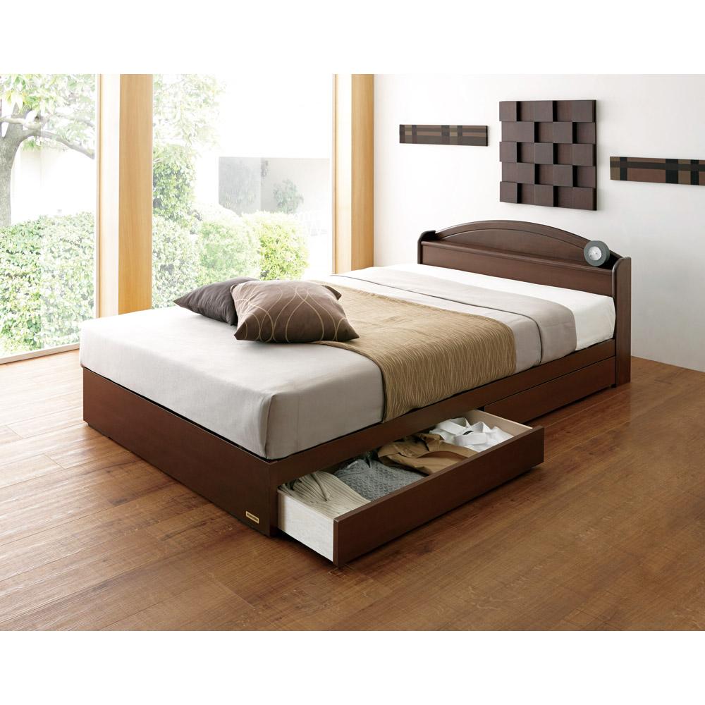 【セミダブル】フランスベッド天然木棚付き引き出しベッド LR0177
