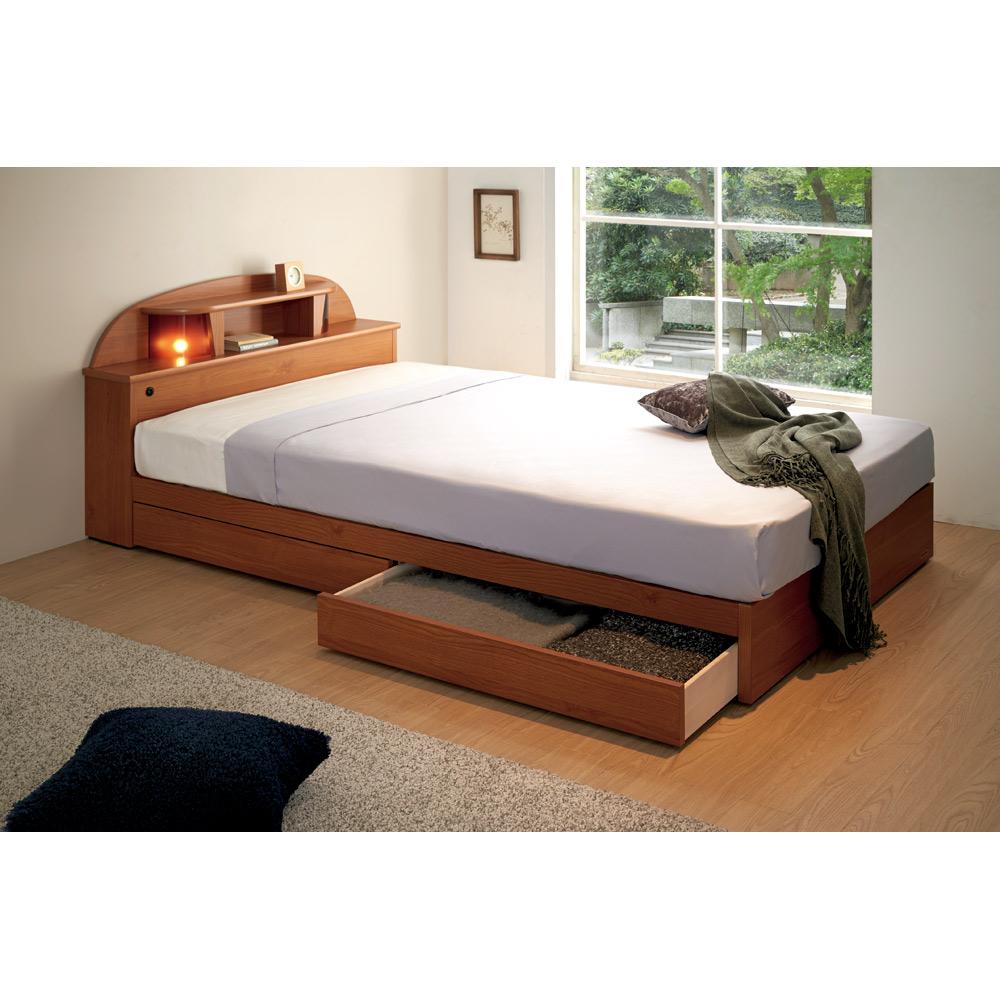 【セミダブル】 フランスベッド 棚・照明付ベッド 羊毛入りマットレス付 LR0186