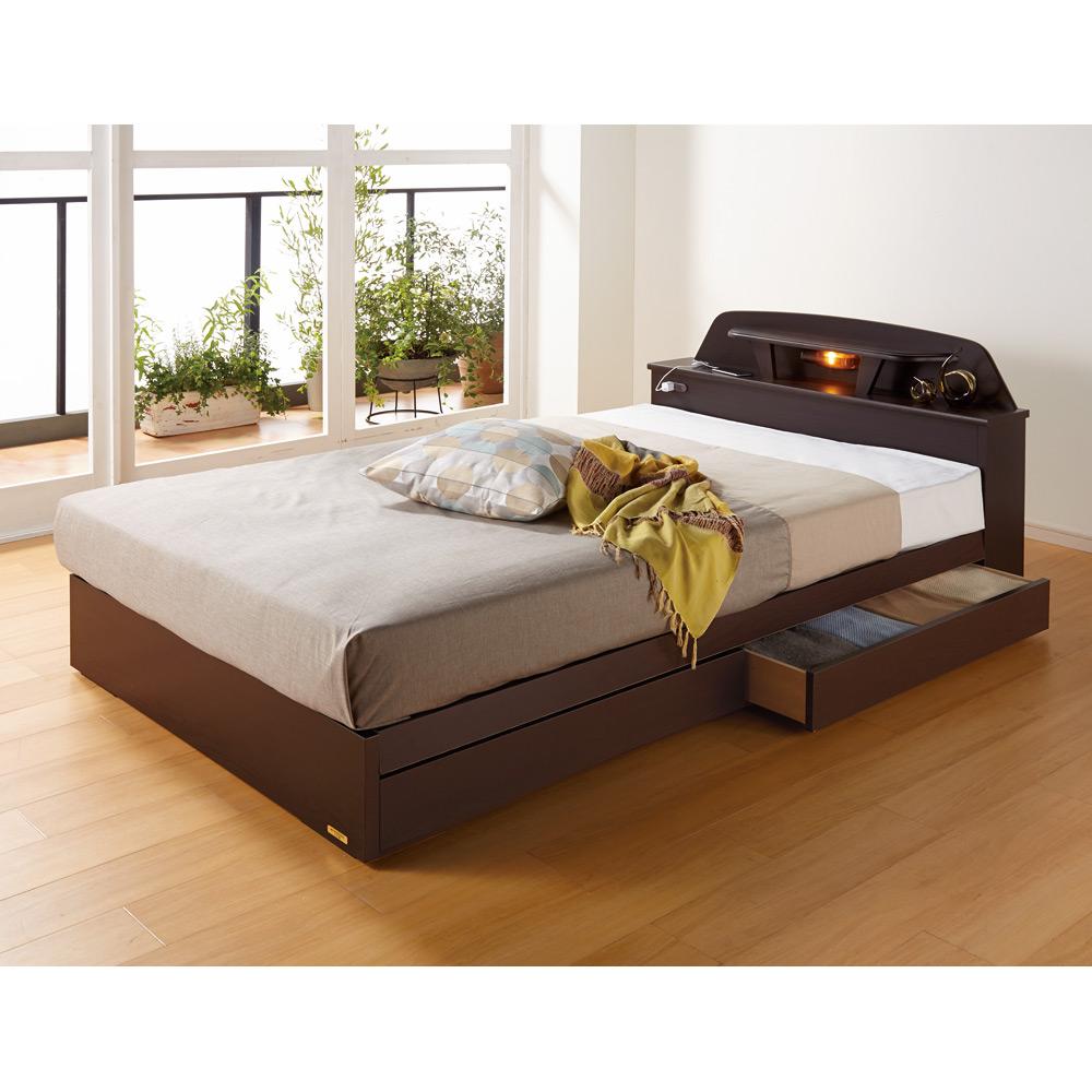 【シングル・羊毛綿入りマット】棚照明付きベッド LR0191