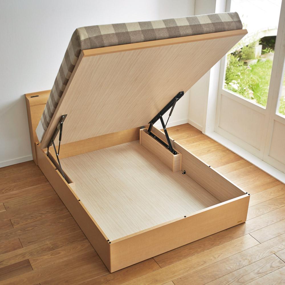 セミダブル・縦開きタイプ(棚照明付き跳ね上げベッド) LR0195