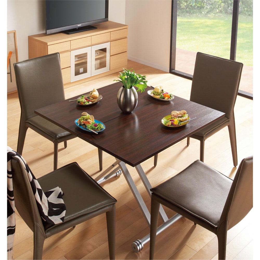 テーブル 伸長式ガス圧昇降テーブル 幅100cm(天板90cm) ガラス モダン シンプル おしゃれ 調節可能 ダイニング パソコン 伸縮 LR0216