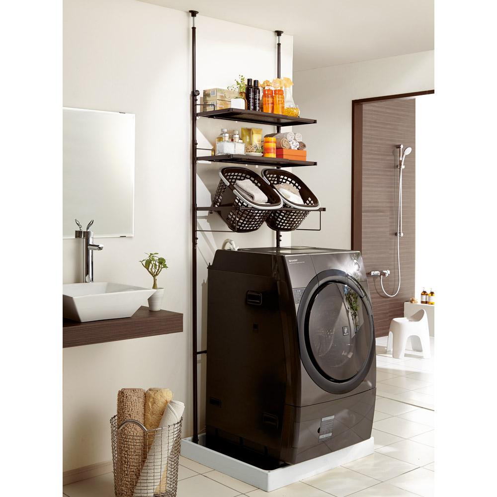 防水パンにおさまる。省スペース洗濯機ラック 標準タイプ・棚2段バスケット2個 LR0218