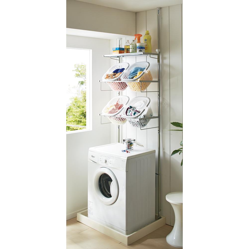 洗濯機パンに収まる 段差対応ランドリーラック 棚1段・バスケット4個 LR0228
