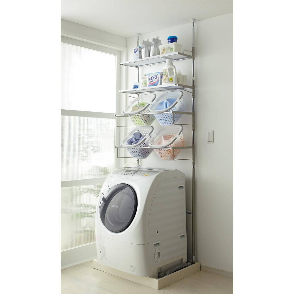洗濯機パンに収まる 段差対応ランドリーラック 棚2段・バスケット4個 LR0229