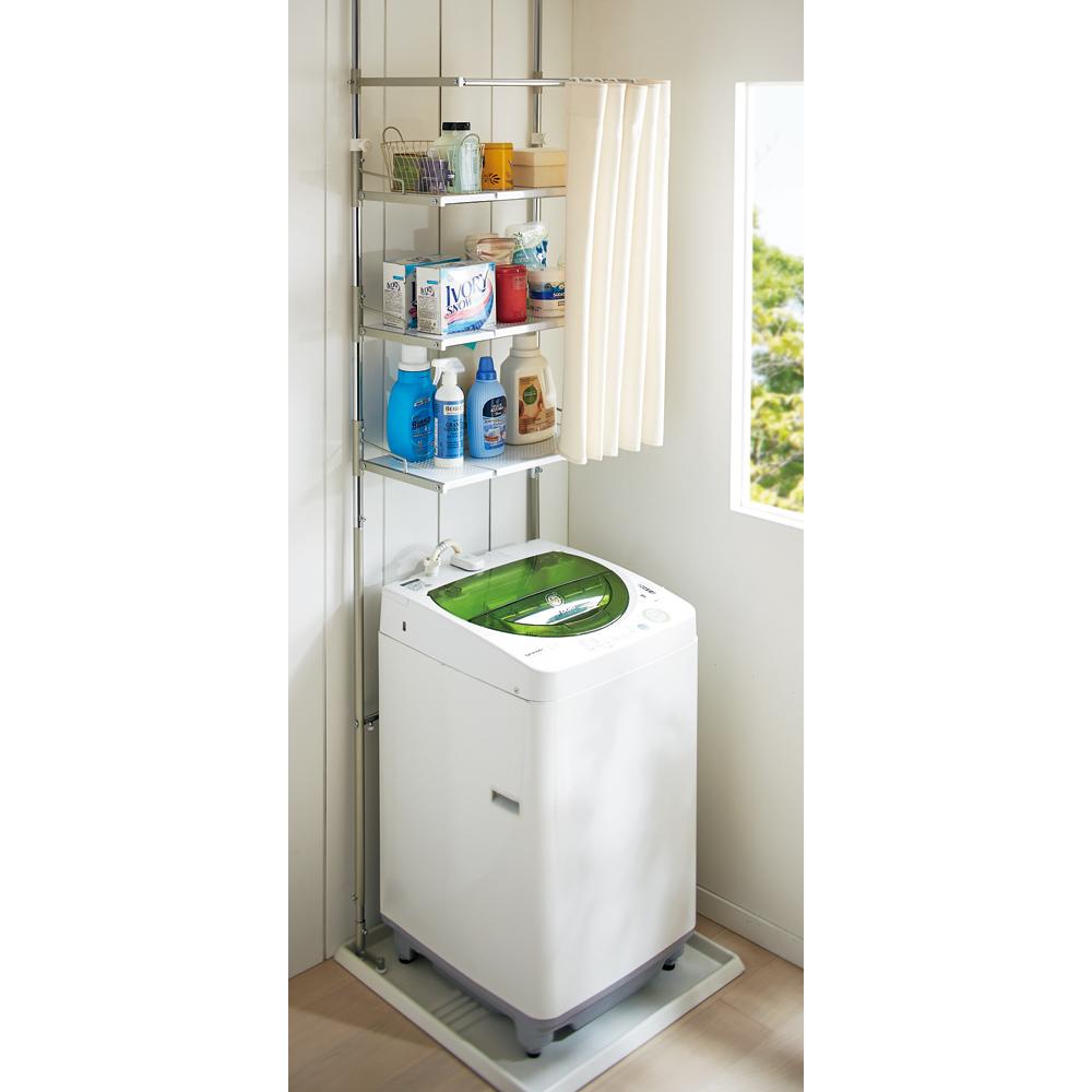 洗濯機パンに収まる段差対応ランドリーラック 棚3段・カーテン付き LR0230