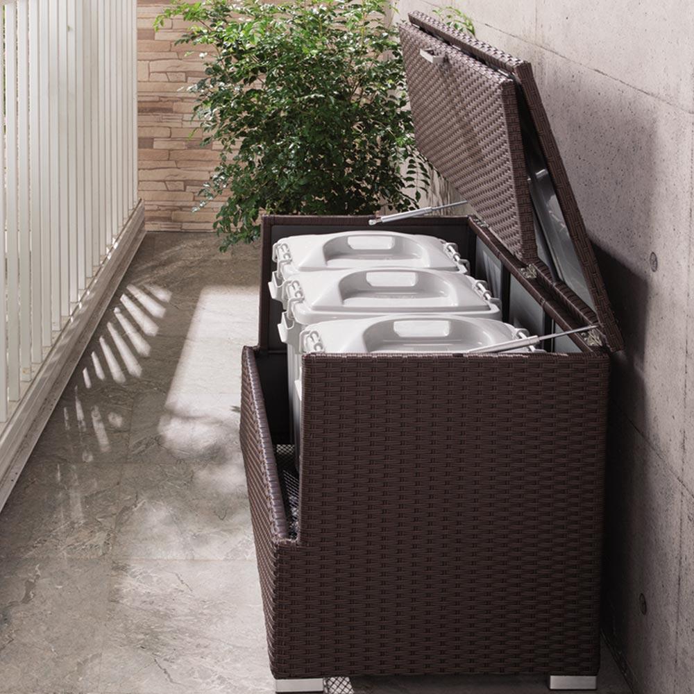 組立不要 ラタン調ゴミ保管庫 幅100cm ペール3個付き LR0327