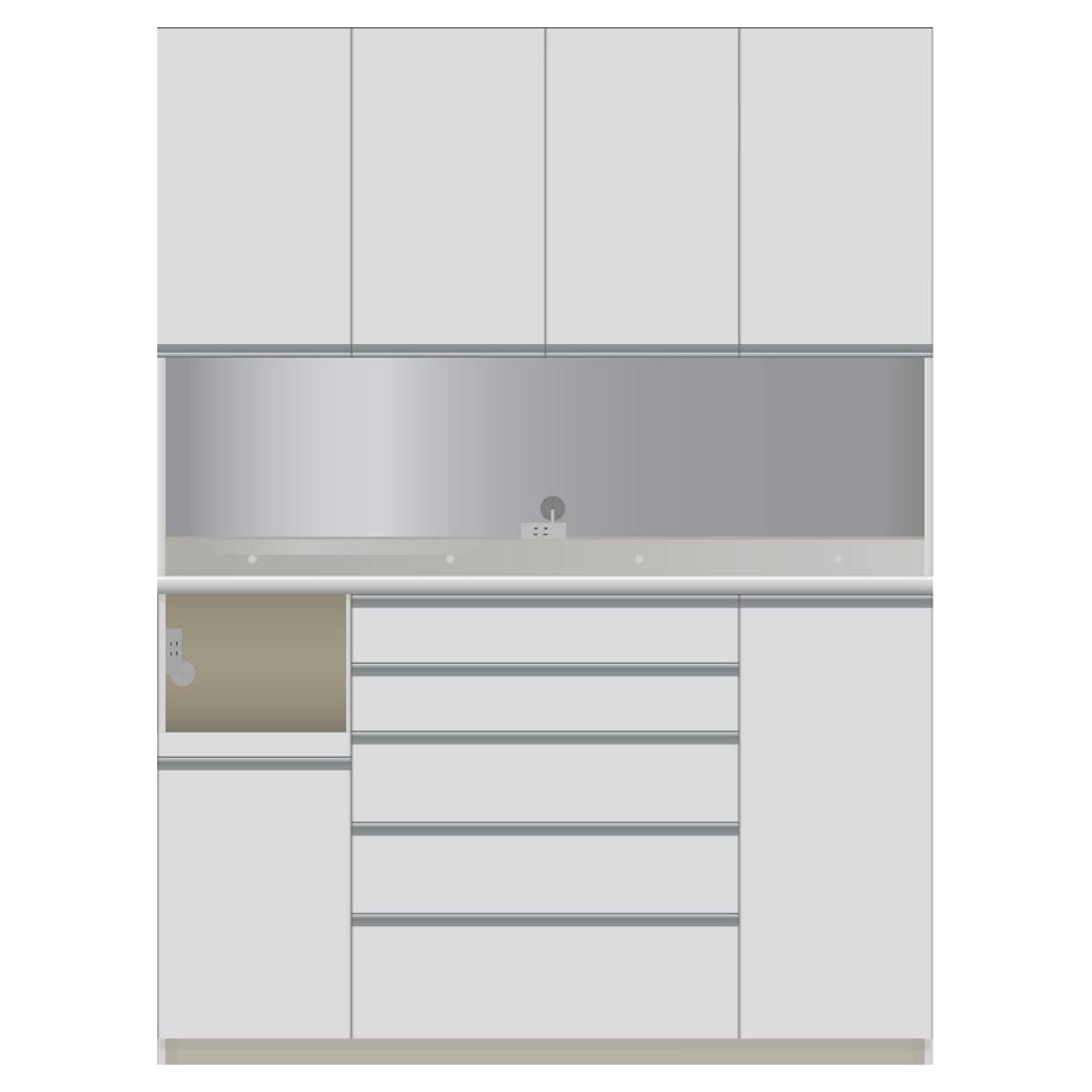 家具 収納 キッチン収納 食器棚 レンジ台 レンジラック キッチンラック 家電が使いやすいハイカウンター奥行45cm ダイニングボード高さ214cm幅160cm/パモウナCQL-S1600R CQR-S1600R LR0504