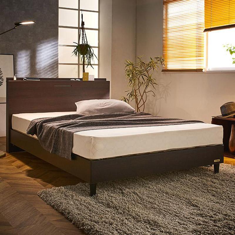 【セミダブル】フランスベッド 棚照明マットレス付きベッド LR0845