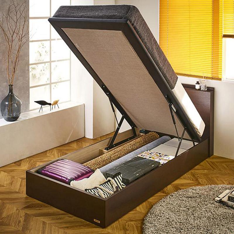 FranceBed/フランスベッド 棚照明マットレス付き跳ね上げ収納ベッド シングル LR0847