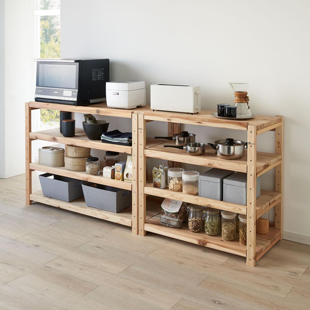 国産杉の飾るキッチンシリーズ キッチンラック・ロー 幅89奥行51cm 702802