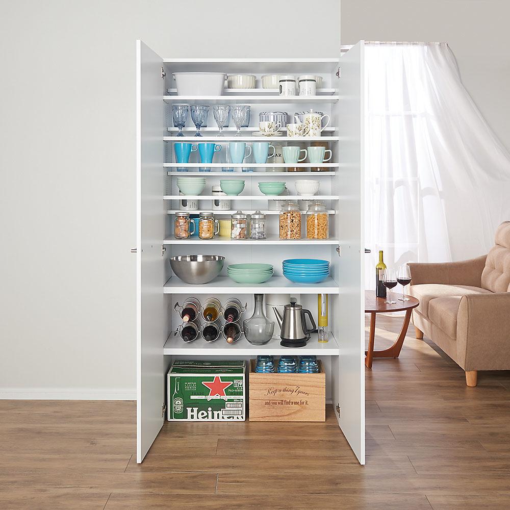 食器からストックまで入るキッチンパントリー収納庫 幅90奥行40cm 703335