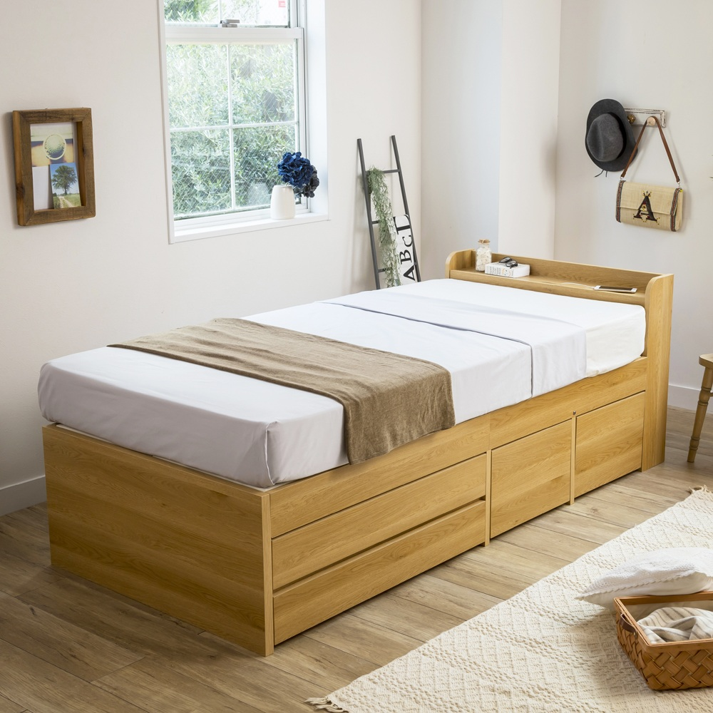 【ダブル】枕元すっきり収納付き天然木調チェストベッド フレームのみ LR0410