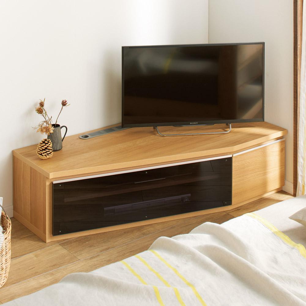 住宅事情を考えた天然木調コーナーテレビ台 右コーナー用 幅123.5cm 663309