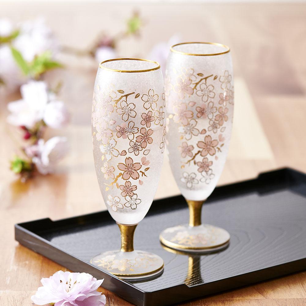 華やかな桜模様が上品な酒グラス お酒好きの方への贈り物に 公式 お祝いギフトにも キッチン 家電 湯のみ GF0191 酒グラスペアセット グラス SAKURA 格安激安 タンブラー
