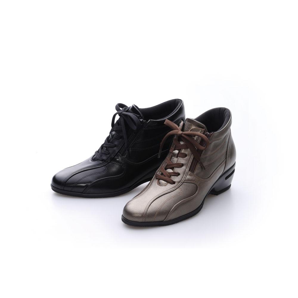 神戸シューズ 時見の靴/牛革エアーヒールショートブーツ NV5216