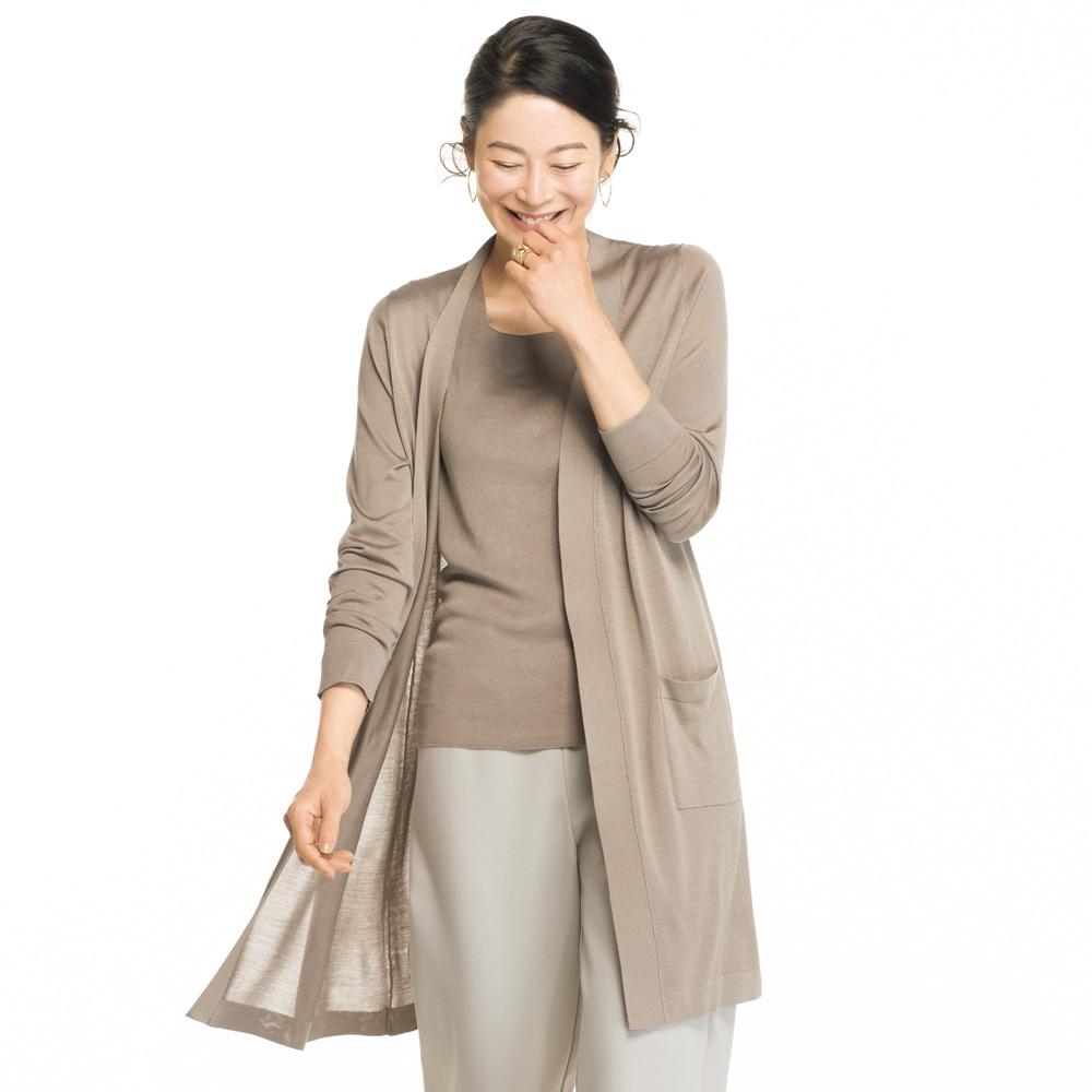 洗えるシルク 天竺編み トッパーロングカーディガン 169402