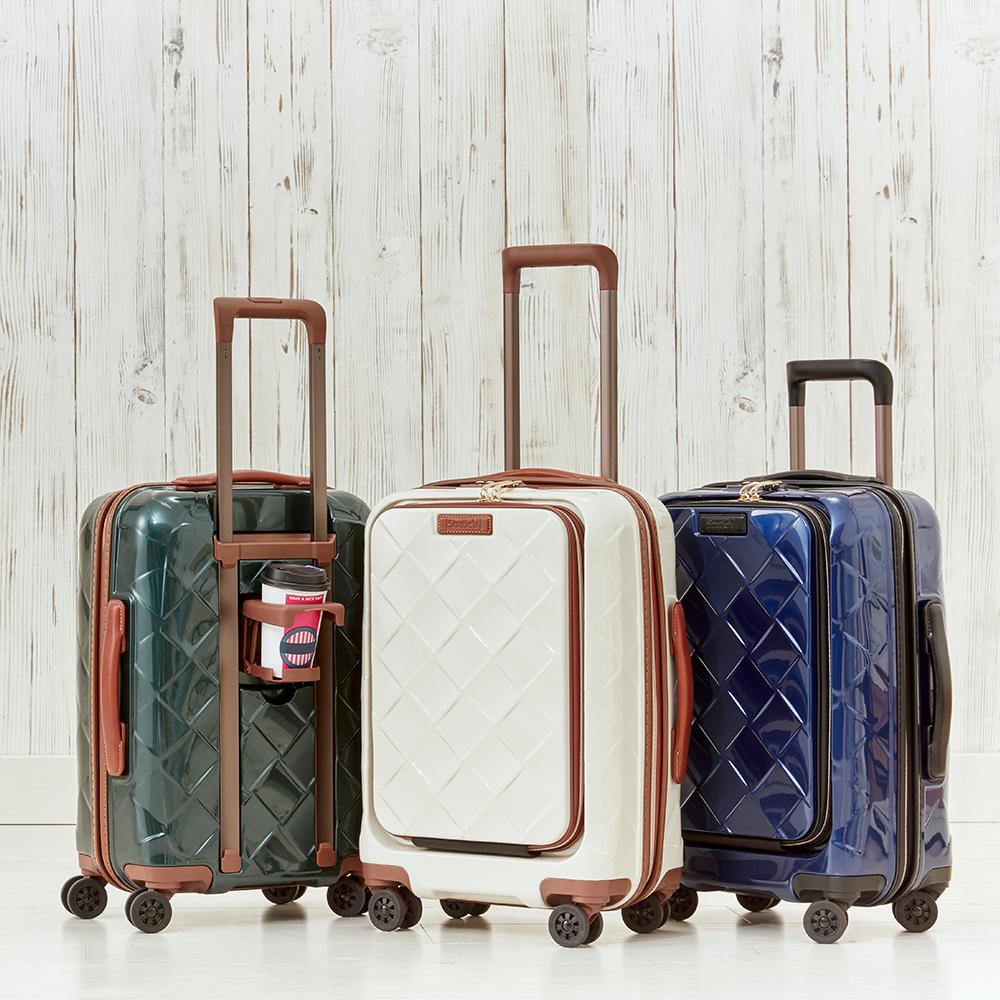 Stratic(ストラティック)/ 「Leather&More(レザー&モア)」フロントオープンスーツケース ドリンクホルダー付き 機内持込 4輪 33L 3.30kg|キャリーケース・スーツケース NV3862