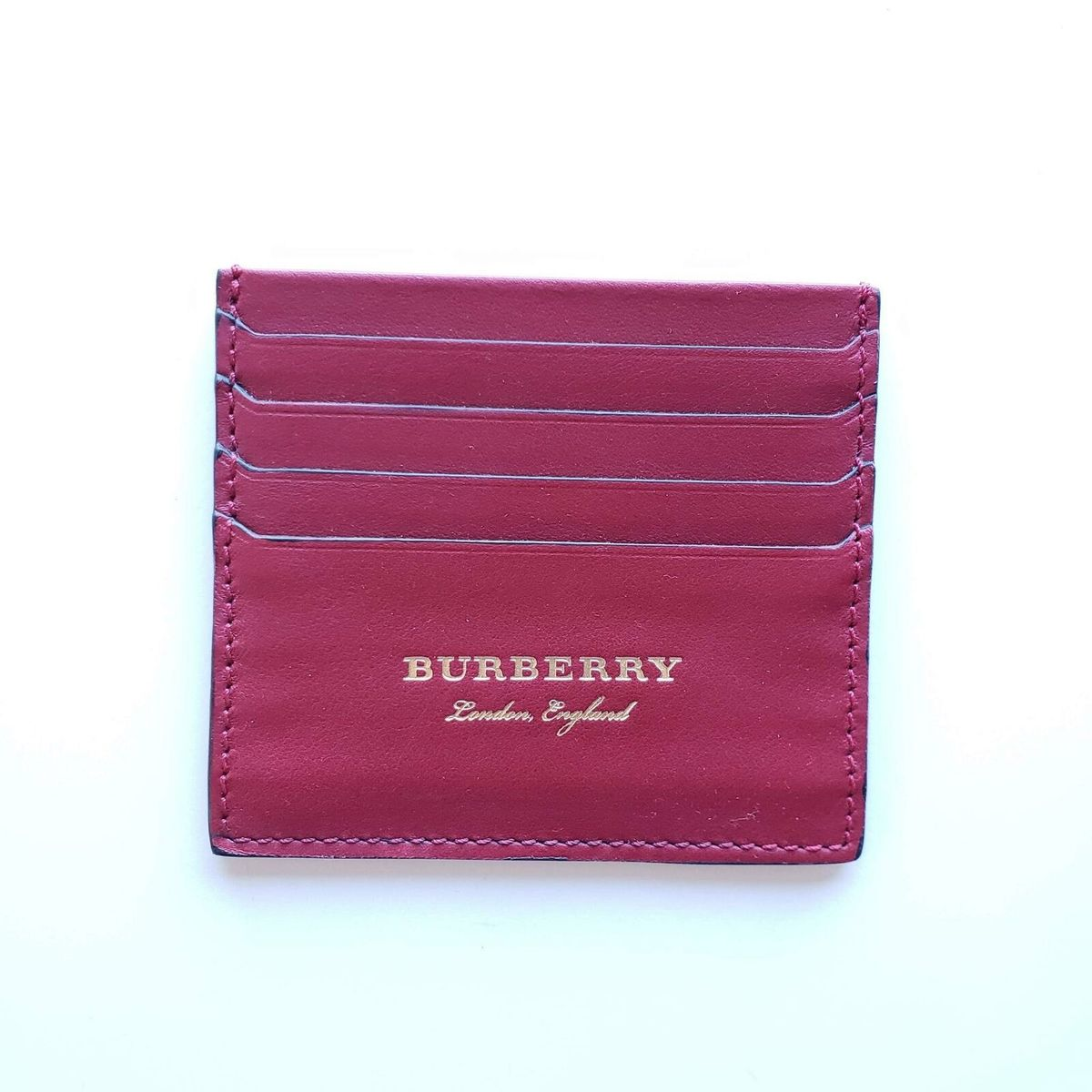 Burberry バーバリー レザーカードケース カードホルダー 財布 レッド Leather Card Case Cardholder Wallet Red