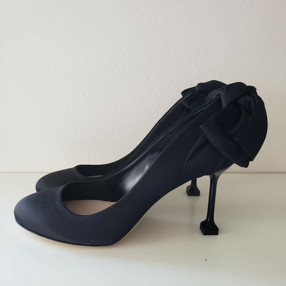 Miu Miu ミュウミュウ サテン パンプス ウィズ ボウ ネロ ブラックヒール シューズ Satin Pumps with Bow Nero Black Heel Shoes