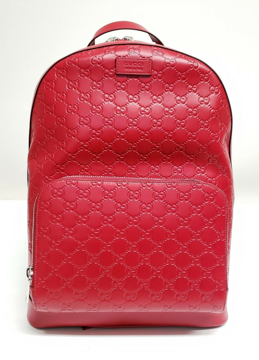 Gucci グッチ グッチシマ サインロゴ レザーバック レッド Guccissima Signature Logo Leather Backpack Red