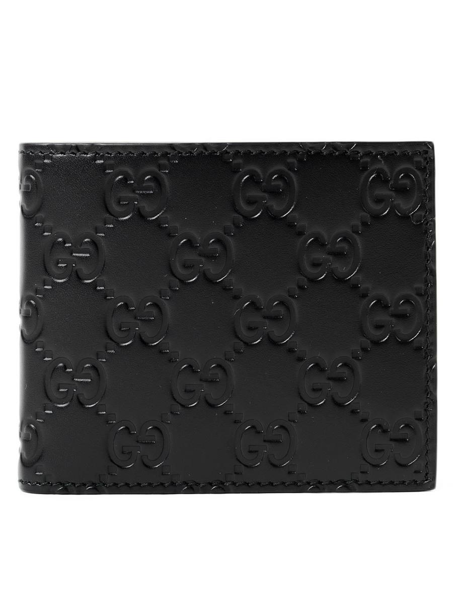 Gucci グッチ グッチシマ シグネチャー レザー 二つ折り財布 ブラック Gucci Guccissima Leather Wallet Black