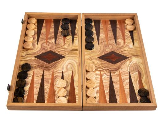 オリーブバール マホガニー ウェンジを使用し オーダーメイドで作成される高級感あふれるバックギャモン 評判 Manopoulos マノプロス オリーブウッドチェッカー バックギャモン OLIVE 当店限定販売 checkers wood olive ラージ large BURL Backgammon