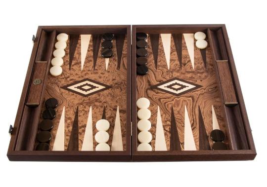 日本限定 ウォルナットバール オークとウェンジを使用し オーダーメイドで作成される高級感あふれるバックギャモン Manopoulos マノプロス ウォルナット バール 使い勝手の良い large バックギャモン BURL ラージ Backgammon WALNUT