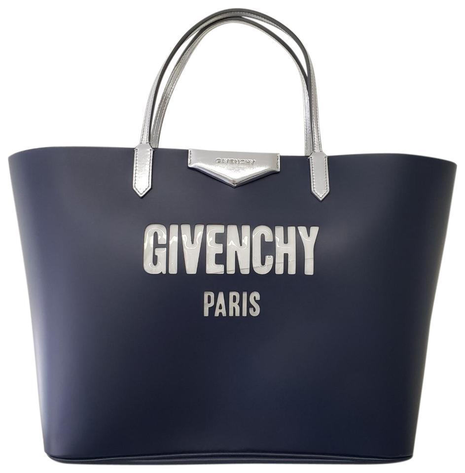 Givenchy Antigona ジバンシー アンティゴナ バブルロゴ レザートートバッグ ブルー Antigona Bubble Logo Blue Leather Tote