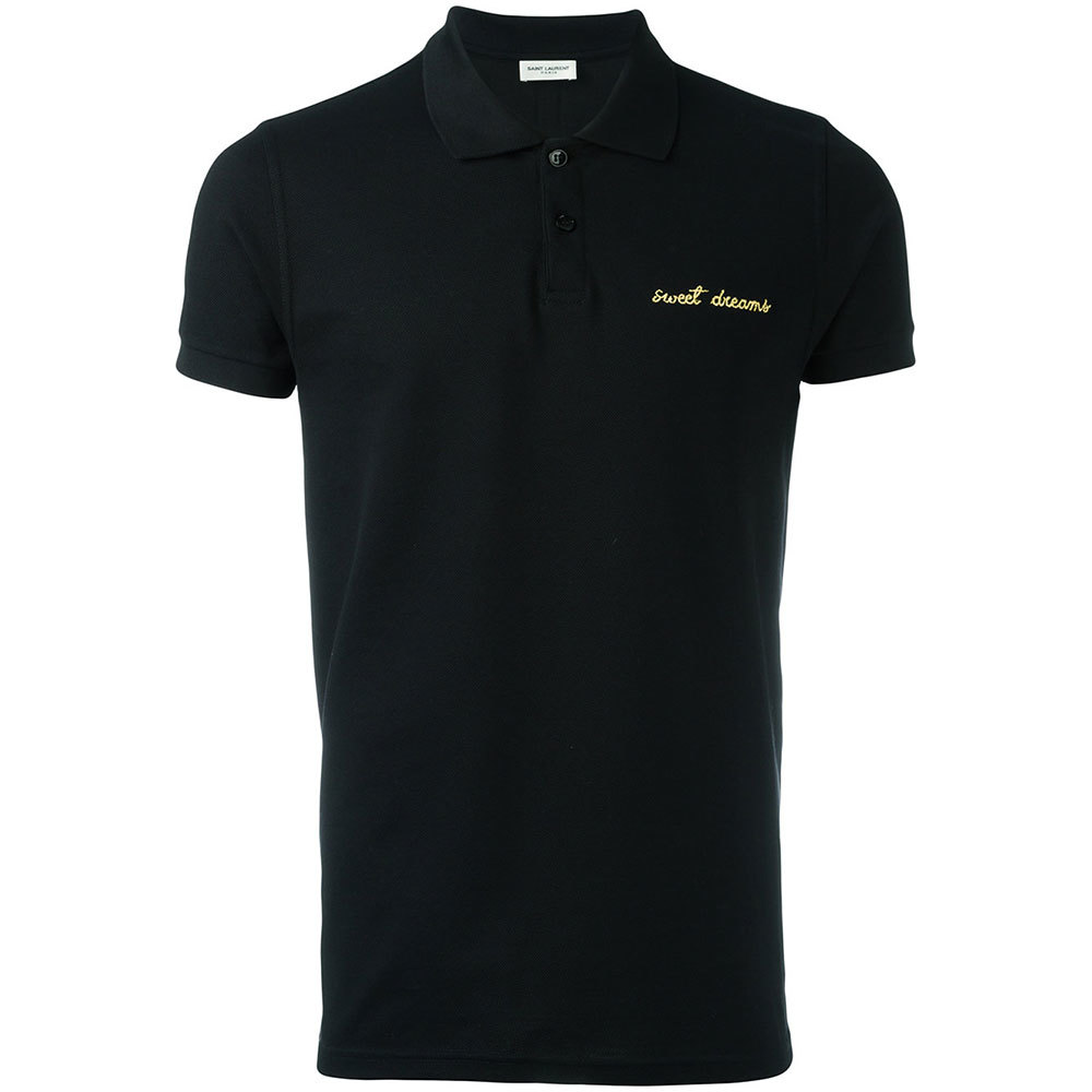 Saint Laurent サンローラン メンズ スイートドリームズ ポロシャツ ブラック Sweet Dreams embroidered polo shirt Black