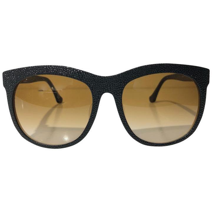 Balenciaga バレンシアガ レディース 2トーン テクスチャー オーバーサイズサングラス ブラック Black Oversized Square Two Tone Textured Sunglasses
