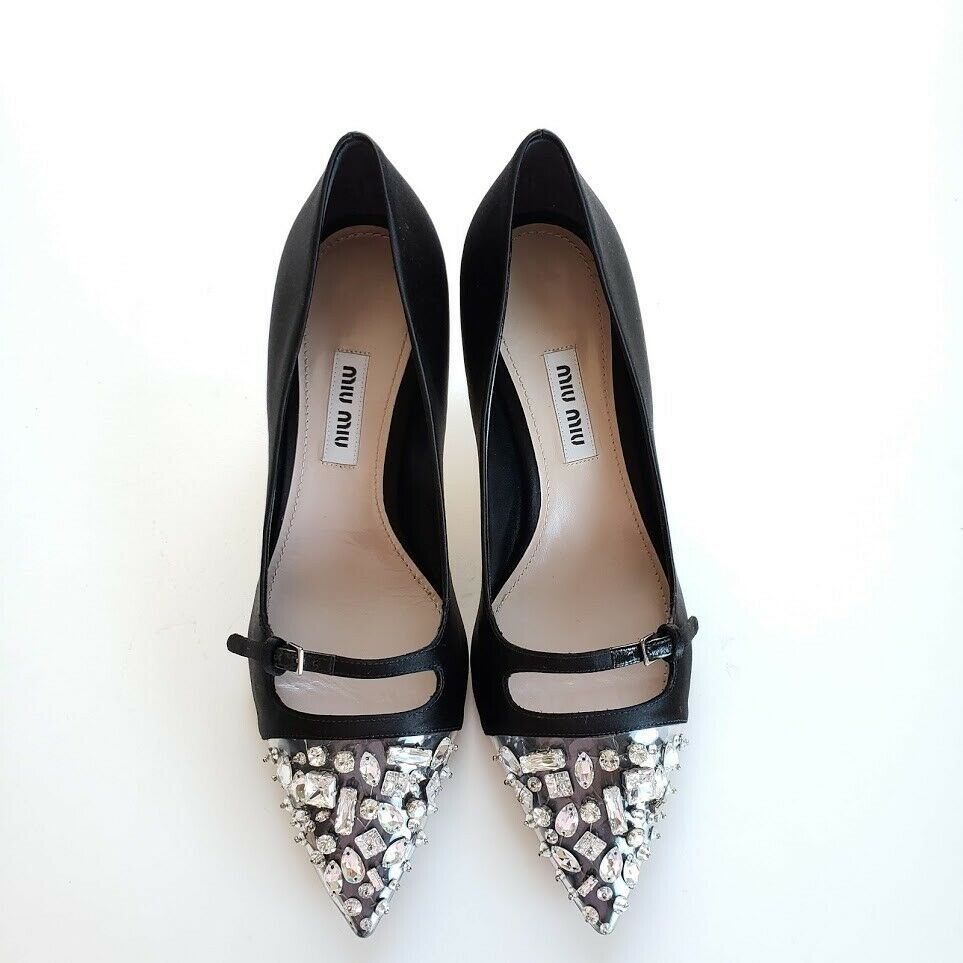 Miu Miu ミュウミュウ サテン&ジュエル パンプス ブラック Satin and Plexiglass Pumps with Crystals Heel Shoes