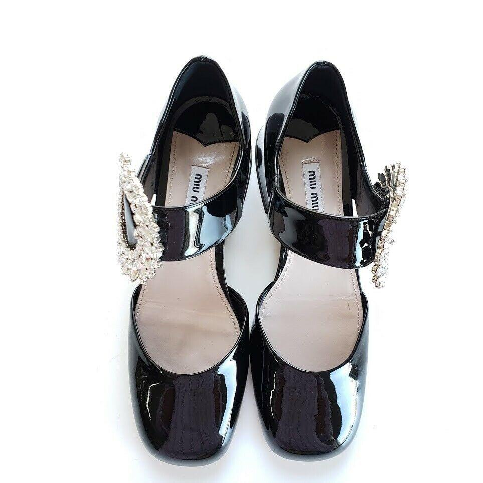 Miu Miu ミュウミュウ クリスタル メリージェーン レザーパンプス ブラック Mary Jane Leather Pumps With Crystals Black