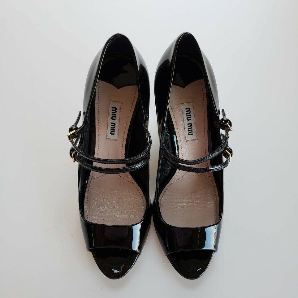 Miu Miu ミュウミュウ ダブルストラップ メリージェーン レザーパンプス ブラック Double Strap Mary Jane Leather Pumps Black
