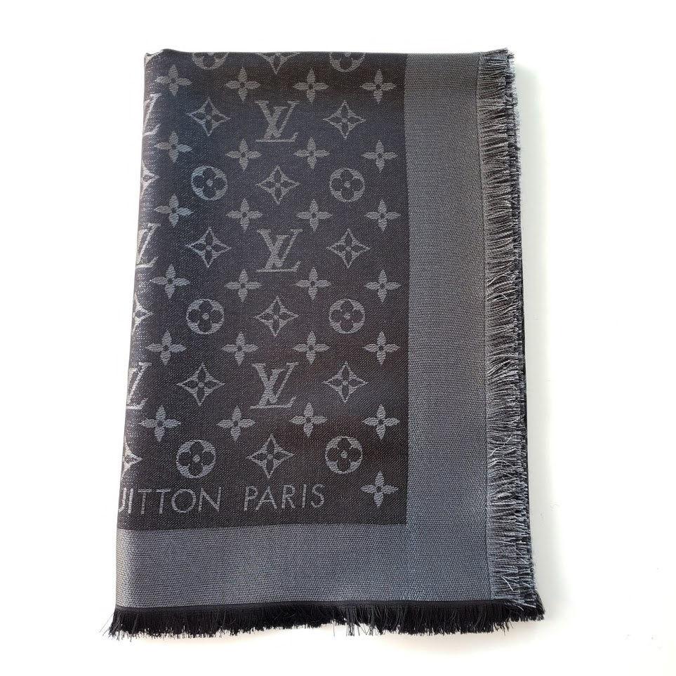 Louis Vuitton ルイヴィトン LVロゴ モノグラム シャイニー オーバーサイズショール スカーフ ブラック ルレックス LV Logo Monogram Lurex Oversize Scarf Shawl M75123 Black Lurex