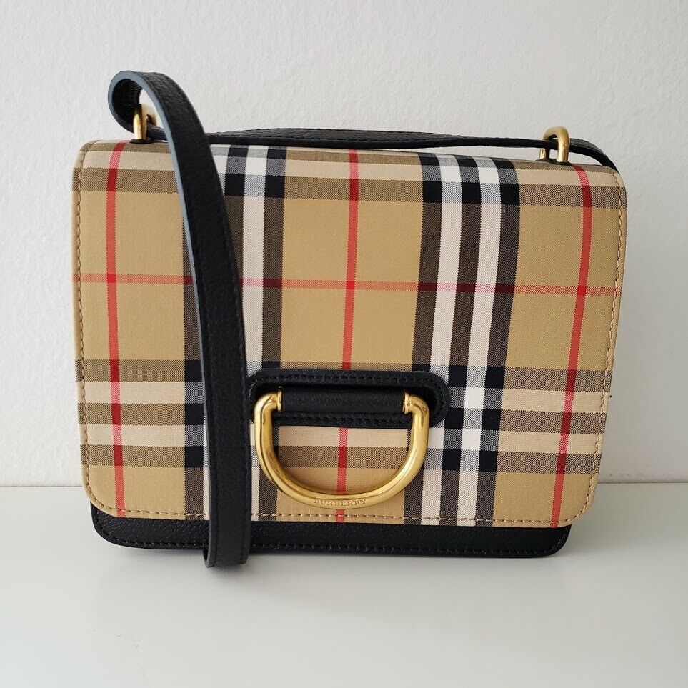 Burberry バーバリー 2019スモールヴィンテージチェックレザーDリングバッグ NEW and Authentic Burberry 2019 Small Vintage Check Leather D-ring Bag