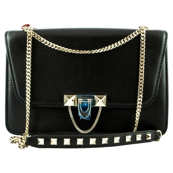Valentino ヴァレンティノデミルーンチェーンショルダーバッグ-ブラック Demilune Chain Shoulder Bag - Black