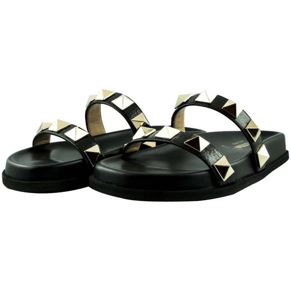 Valentino ヴァレンティノ ロックスタッズ スライド レザー スリッパ ブラック Rockstud Slides Leather Slippers Black