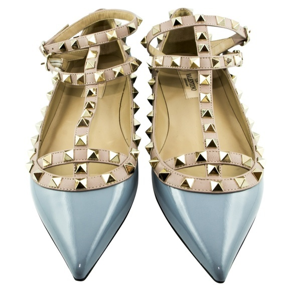 Valentino ヴァレンティノ ロックスタッズ バレリーナシューズ ライトブルー Rockstud Ballerina Shoes Light Blue