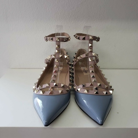 Valentino ヴァレンティノ ダブル アンクル ストラップ バレリーナ フラット - ブルー Double Ankle Strap Ballerina Flats- Blue