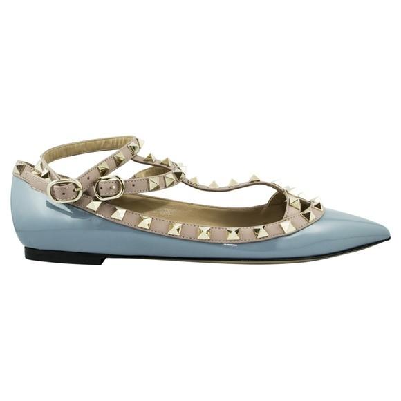 Valentino Garavani フラット レザー フラット シューズ ライトブルー Leather Flat Shoes - Light Blue
