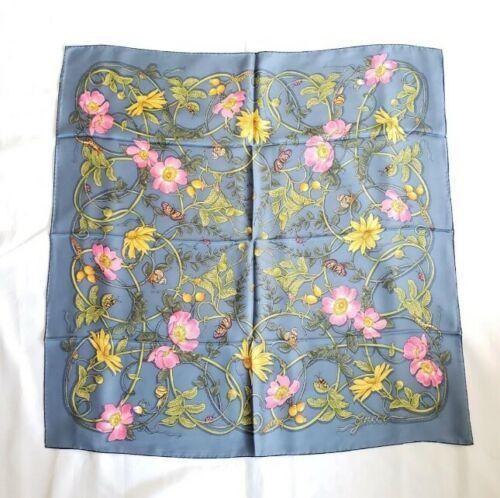 【中古】Gucci Floral グッチ フローラル シルク スクエア ショール - ブルー Silk Square Shawl - Blue
