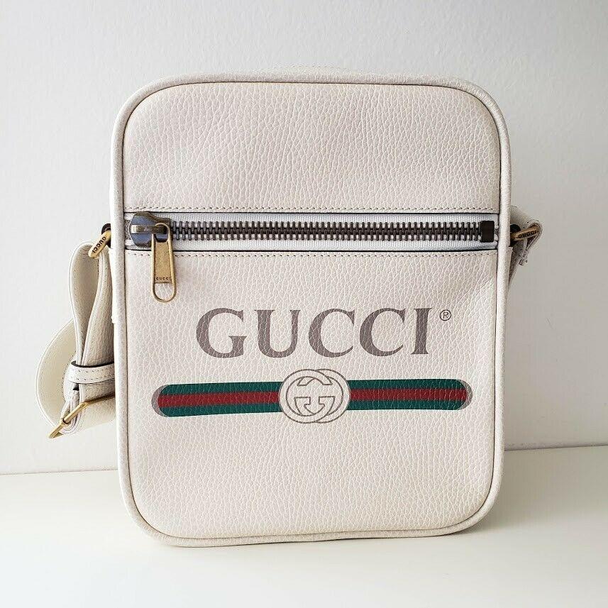 【中古】Gucci グッチ ヴィンテージ ロゴ プリント レザー メッセンジャー バッグ ホワイト Vintage Logo Print Leather Messenger Bag - White