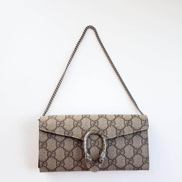 【中古】Gucci グッチ ディオニュソス GG シュプリーム リムーバブル チェイン ウォレット タン Dionysus GG Supreme Removable Chain Wallet - Tan