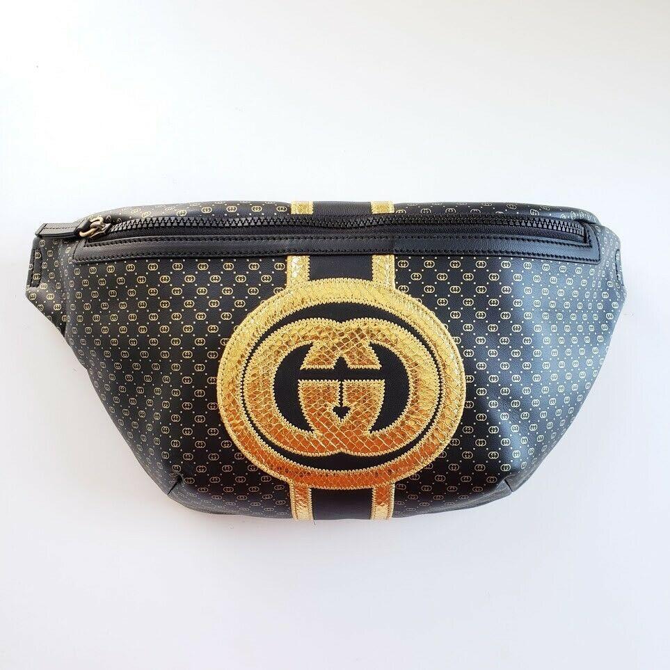 【中古】Gucci グッチ GGパターン ダッパーダン スペシャルエディション レザーファニーパックベルトバッグ ブラック GG Pattern Dapper Dan Special Edition Leather Fanny Pack Belt Bag Black