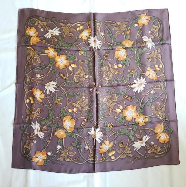 【中古】Gucci グッチ フローラル シルク スクエア ショール パープル Floral Silk Square Shawl Purple